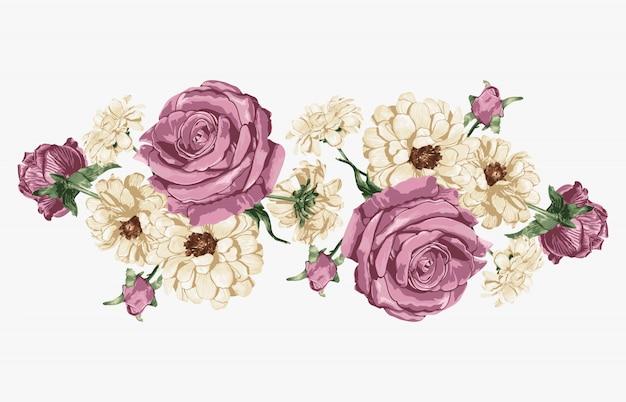 Różowa róża i białe stokrotki słodki bukiet kwiatowy