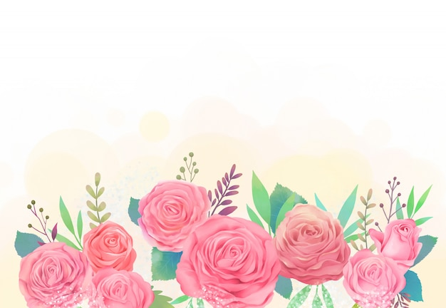 Różowa róża i łyszczec akwarela ilustracja