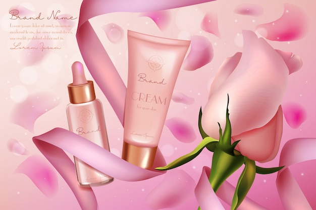 Różowa róża luksusowych kosmetyków ilustracja. plakat promocyjny produktu kosmetycznego z kremowym serum do pielęgnacji skóry w szklanej butelce, plastikowym opakowaniu tubowym, miękkiej różowej wstążce i tle kwiatu róży