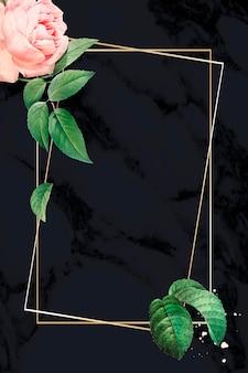 Różowa róża rama na marmurowym teksturowanym wektorze tła