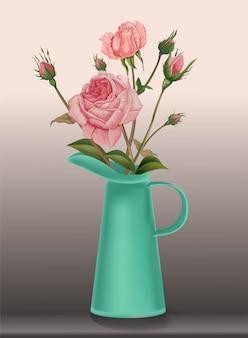 Różowa róża w dzbanku, w stylu retro