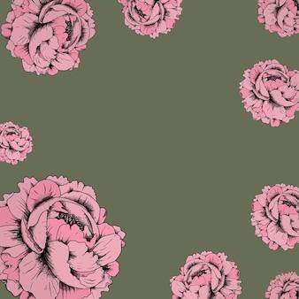 Różowa róża w stylu vintage rama