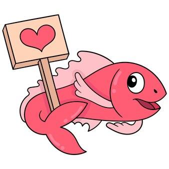 Różowa ryba niosąca miłość valentine pokładzie, ilustracji wektorowych sztuki. doodle ikona obrazu kawaii.