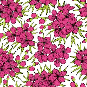 Różowa sakura i wzór zielony liści