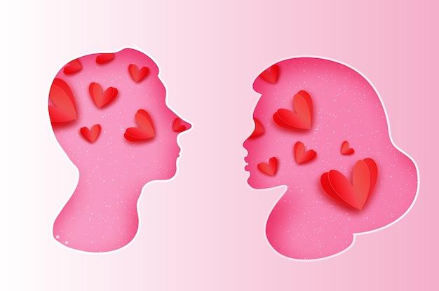 Różowa sylwetka mężczyzny i kobiety