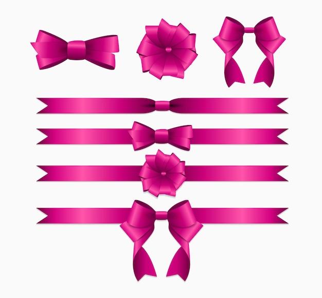 Różowa wstążka i kokardka na prezent urodzinowy i świąteczny realistyczna dekoracja jedwabnej wstążki
