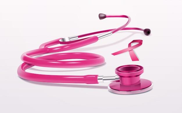 Różowa wstążka ikona stetoskop świadomości raka piersi realistyczne narzędzie medyczne