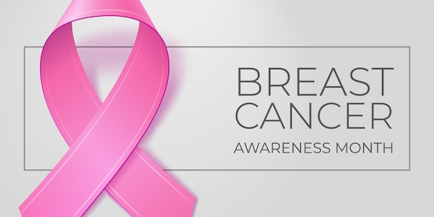 Różowa wstążka na jasnoszarym tle z miejsca kopiowania tekstu. typografia miesiąca świadomości raka piersi. symbol medyczny w październiku. ilustracja na baner, plakat, zaproszenie, ulotkę.