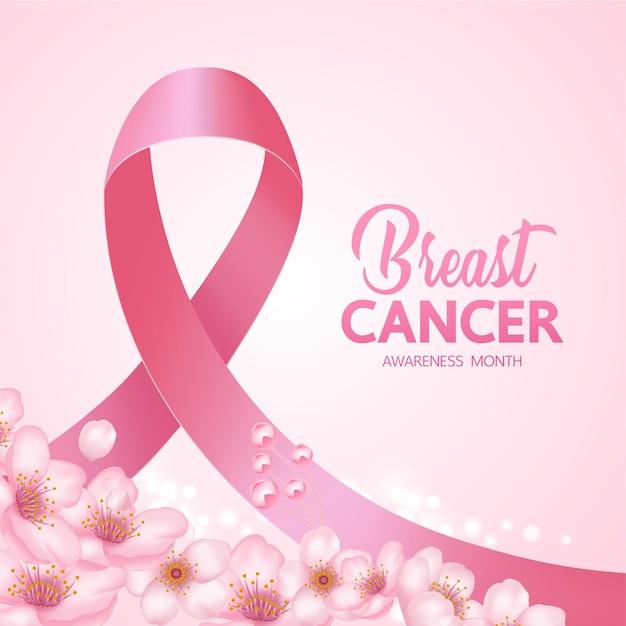 Różowa wstążka na różowym tle ilustracji świadomości raka piersi.