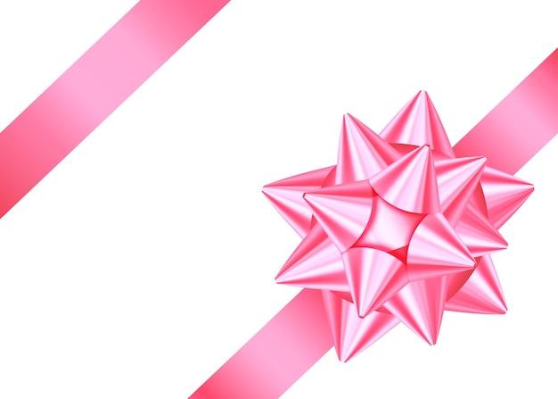 Różowa wstążka ozdobny prezent i łuk na białym tle