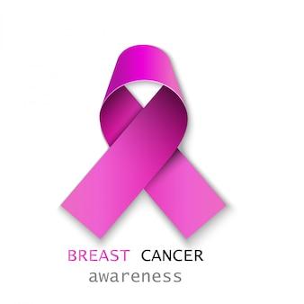 Różowa wstążka raka piersi na białym tle