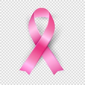 Różowa wstążka, realistyczny wektor 3d, świadomość raka piersi