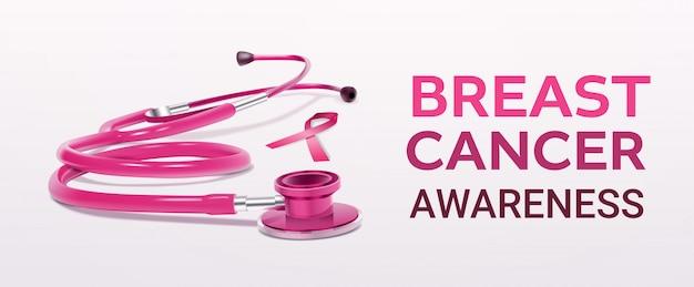 Różowa wstążka stetoskop ikona świadomości raka piersi realistyczne narzędzie medyczne transparent
