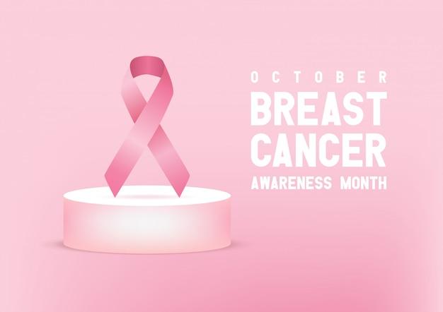 Różowa wstążka świadomości raka piersi. sztandar światowego dnia raka piersi.