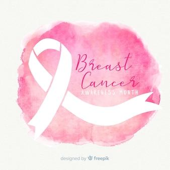 Różowa wstążka świadomości raka piersi w stylu przypominającym akwarele