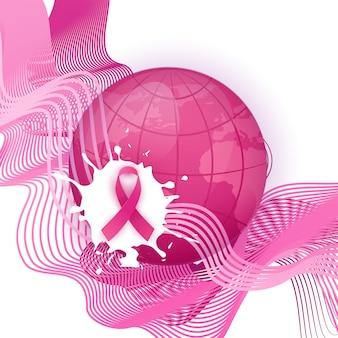 Różowa wstążka symbol świadomości raka piersi miesiąc