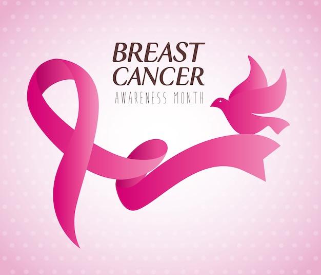 Różowa wstążka, symbol światowego miesiąca świadomości raka piersi z gołębicą