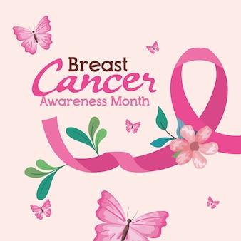 Różowa wstążka z kwiatem i motylami na temat projektowania, kampanii i zapobiegania rakowi piersi