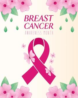 Różowa wstążka z motylami i kwiatami na temat projektowania, kampanii i zapobiegania rakowi piersi
