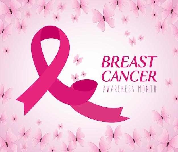 Różowa wstążka, z motylami symbol światowego miesiąca świadomości raka piersi