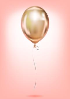 Różowa złota folia prosta balonu złota sfera