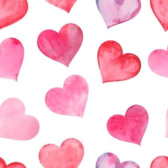Różowe akwarele malowane serca bezszwowe tło wzór na walentynki wektor