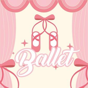 Różowe baletki pointe shoes ramka kurtyna balet