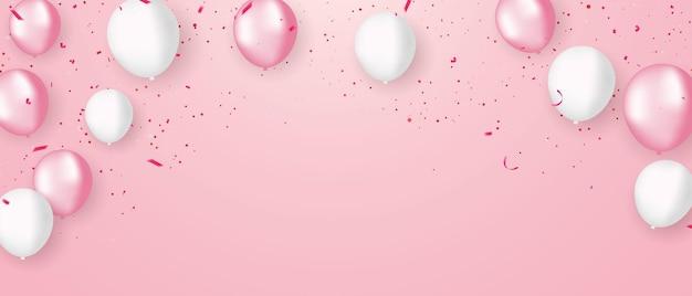 Różowe białe balony, projekt konfetti