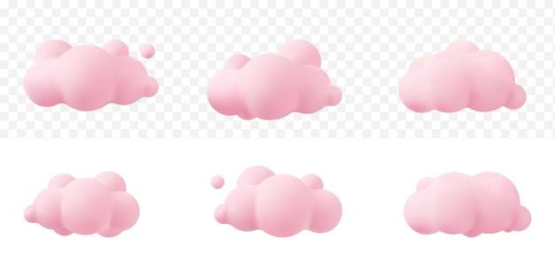 Różowe chmury realistyczne 3d na białym tle na przezroczystym tle. renderuj miękkie okrągłe kreskówki puszyste chmury ikona na niebie. 3d geometryczne kształty ilustracji wektorowych