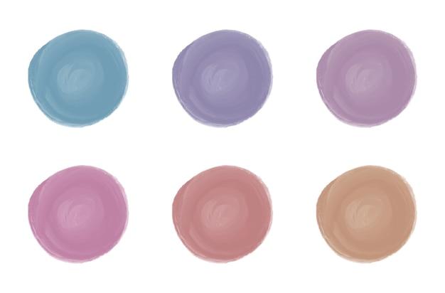 Różowe, czerwone, niebieskie, fioletowe kształty akwarela okrągłego pędzla