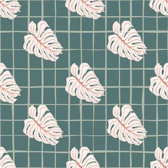 Różowe elementy monstera wzór w prostym stylu doodle. granatowe tło w kratkę. tło dekoracyjne do projektowania tkanin, nadruków na tekstyliach, zawijania, okładek. ilustracja wektorowa.