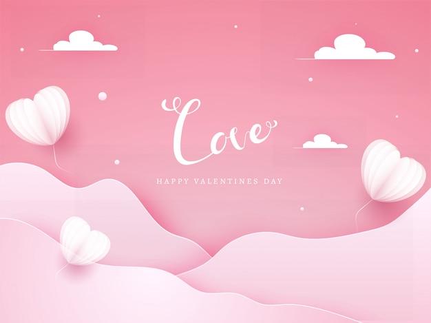 Różowe faliste tło wycięte z papieru ozdobione balonami i chmurami w kształcie serca origami dla miłości, happy valentine's day celebration.