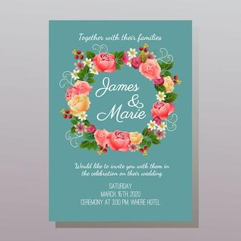 Różowe florystyczne zaproszenie na ślub turkusowe