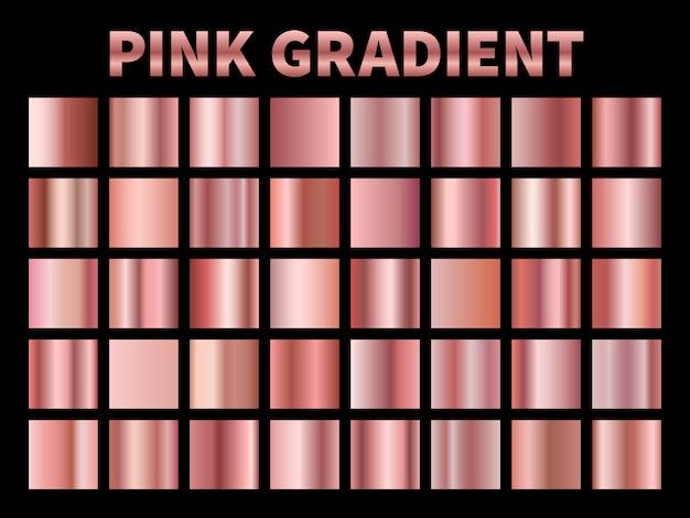 Różowe gradienty metaliczne. gradientowa folia ze złotej róży, błyszcząca róża metaliczna płytka obramowanie etykiety wstążki. szablony