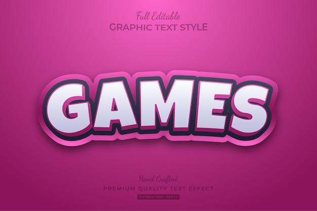 Różowe gry cartoon edytowalny efekt stylu tekstu premium