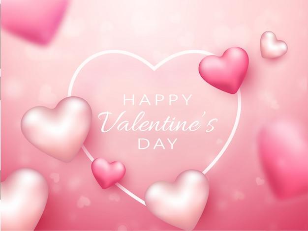 Różowe i białe serca zdobione na błyszczącym tle na obchody szczęśliwych walentynek.
