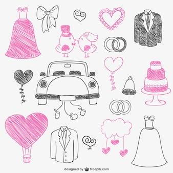 Różowe i czarne gryzmoły ślubne
