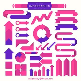 Różowe i fioletowe strzałki infographic