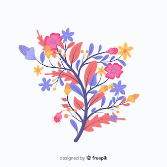 Różowe i fioletowe wiosenne kwiaty w płaskiej konstrukcji