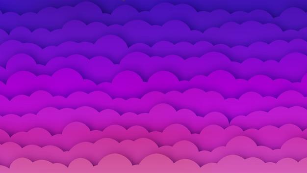 Różowe i niebieskie chmury bg z efektem papercut
