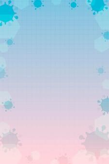 Różowe i niebieskie tło w ramce koronawirusa