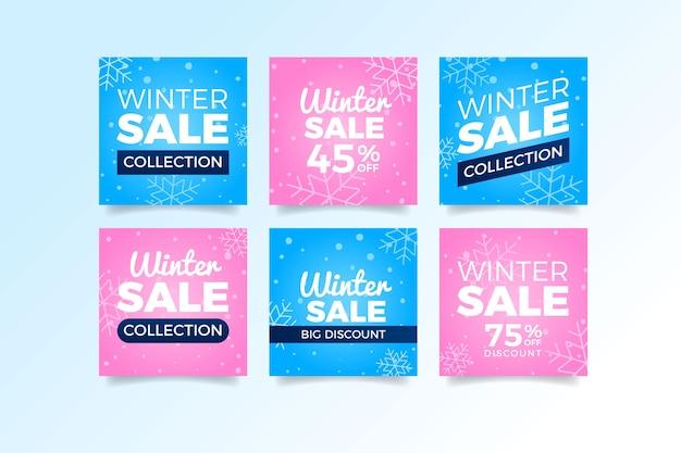 Różowe i niebieskie zimowe artykuły sprzedażowe w mediach społecznościowych