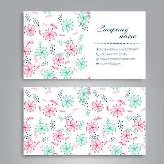 Różowe i zielone kwiecie projektowania wizytówek