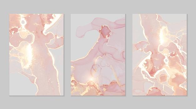 Różowe i złote marmurowe abstrakcyjne tekstury