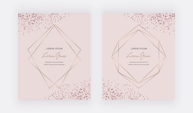 Różowe karty z wielokątnymi ramkami i konfetti w kolorze różowego złota.