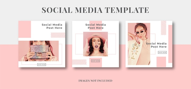 Różowe kobiece piękno w mediach społecznościowych na instagramie post szablon reklamy promocji mody