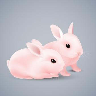 Różowe króliczki na szaro