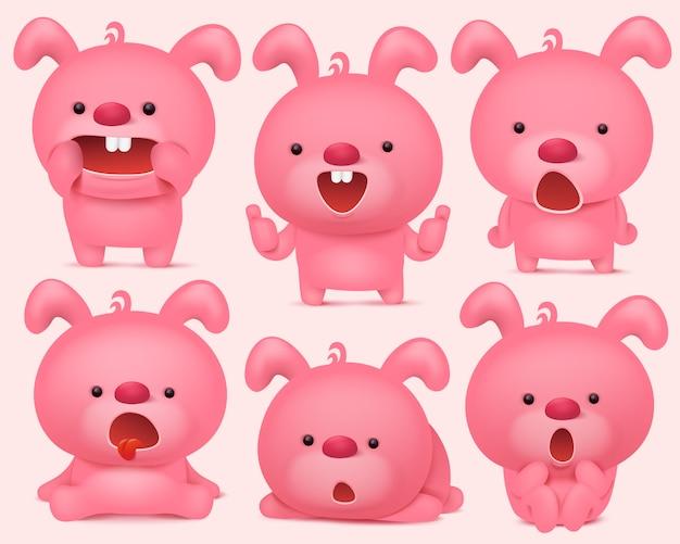 Różowe króliczki znaków emoji z różnych emocji.