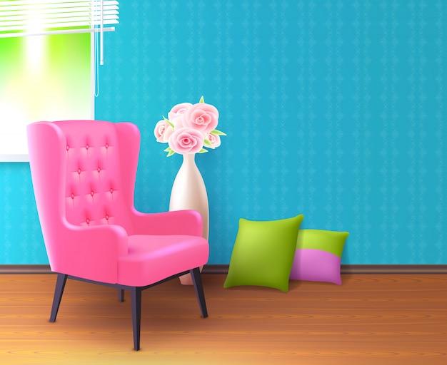Różowe krzesło realistyczne tło wnetrze