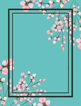 Różowe kwiaty gałęzie malowanie z ramą na niebiesko